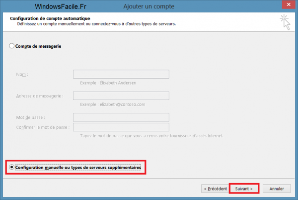 Outlook 2013 configuration manuelle