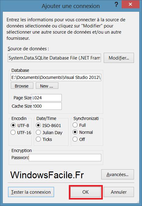 SQLite VS2012 création base