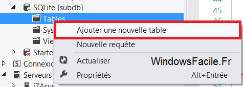 VS2012 ajouter table SQLite