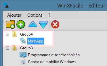 WinXFacile Ajout programme dans groupe