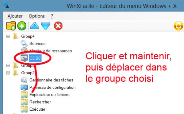 WinXFacile déplacer élément dans autre groupe