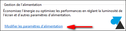 Windows 8 gestion alimentation