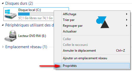 Windows 8 disque dur proprietes