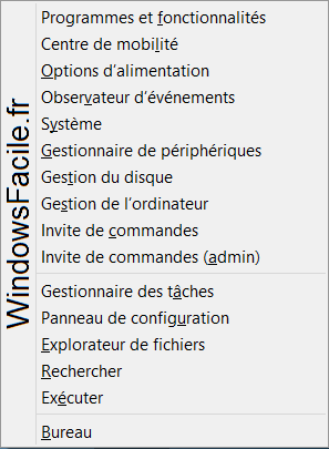 Windows 8 Menu Windows+X
