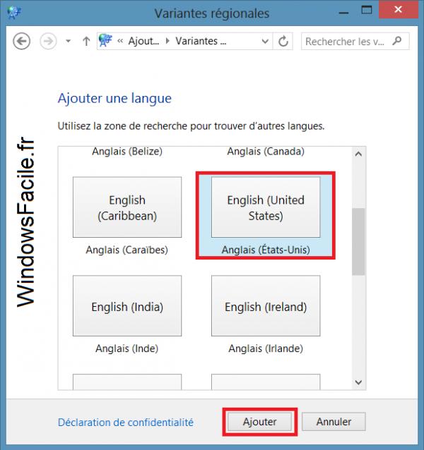 Choix langue région