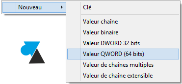 regedit valeur qword 64bits dword 32bits