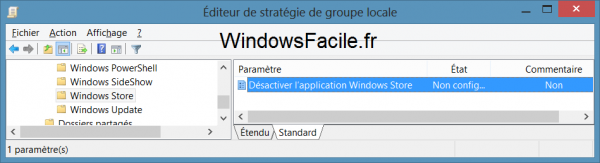Windows Store désactiver editeur
