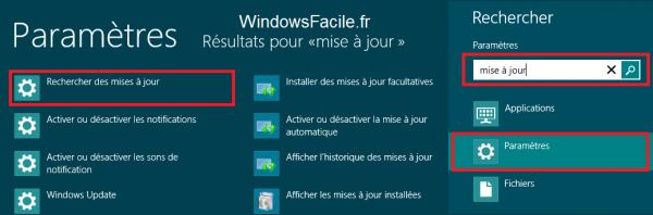 Windows 8 Rechercher mises à jour