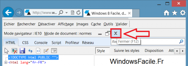 ie10 fermer outils developpement
