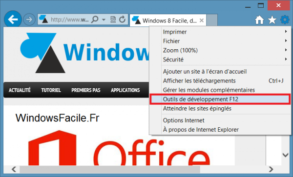ie10 menu outils developpement