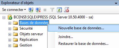 SQL Server 2008 R2 creer nouvelle base de donnees