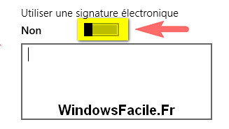 application courrier désactiver signature