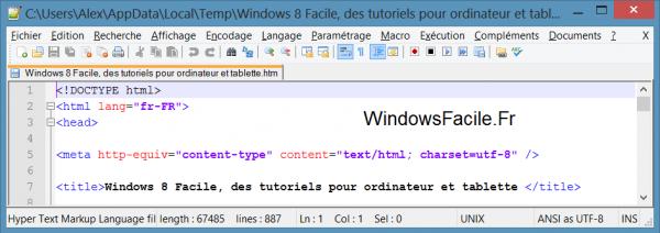 Navigateur source code firefox notepad++
