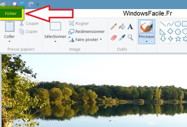 paint menu fichier
