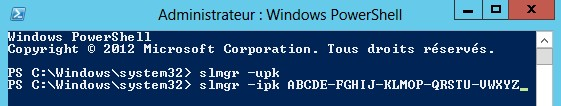Windows 2012 commande PowerShell slmgr ipk