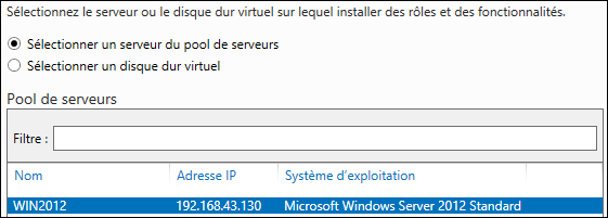 Windows Server 2012 pool de serveurs