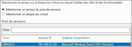 Windows Server 2012 pool de serveurs