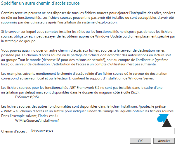 Windows Server 2012 specifier autre chemin acces source