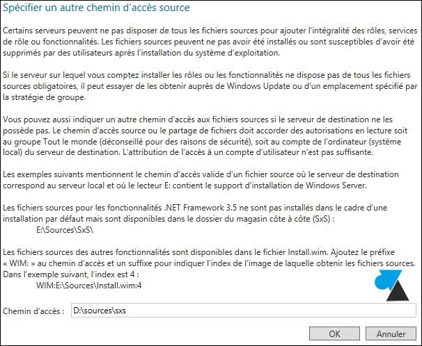 Windows Server 2012 specifier autre chemin acces source