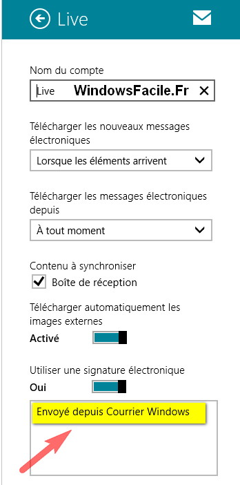 Windows 8 signature courrier
