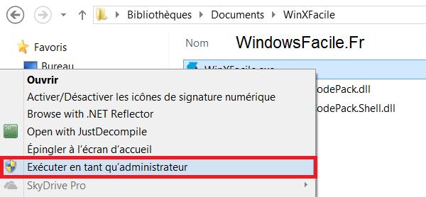 Windows 8 programme administrateur