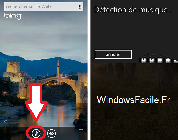 Windows Phone chercher titre chanson