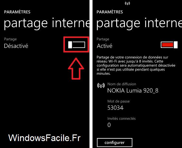 Windows Phone partage internet activé