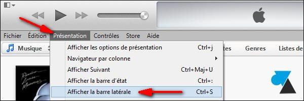 Apple iTunes 11 afficher barre laterale menu de gauche