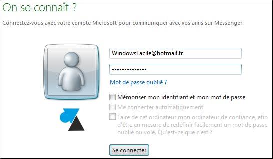 installation MSN ecran connexion