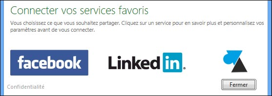 MSN connexion Facebook Linkedin