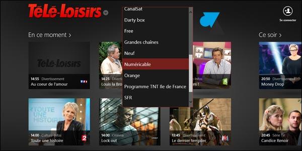 TeleLoisirs programme TV logiciel Windows 8 Store