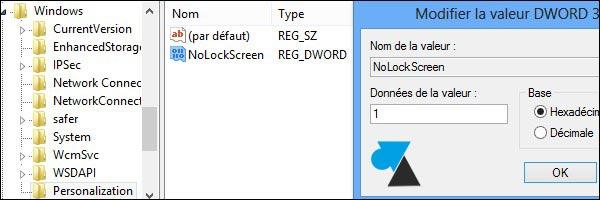 regedit cle de registre DWORD32 NoLockScreen