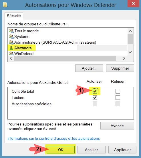 Controle totale defender registre