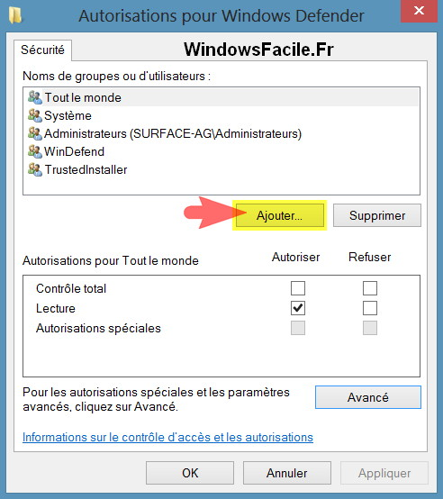 regedit windows defender ajouter utilisateur