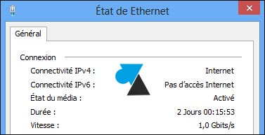 uptime Windows connexion reseau Ethernet