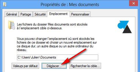 deplacement mes documents windows autre disque partition