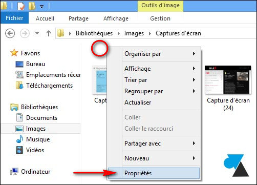 changer dossier capture ecran windows8