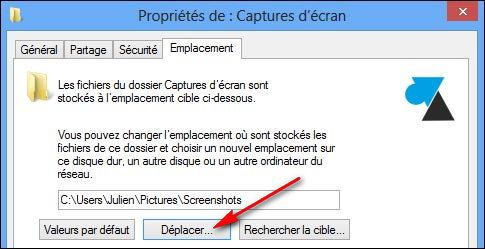 changer dossier endroit capture ecran windows screenshot