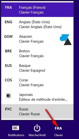 changer langue clavier Windows modern ui metro