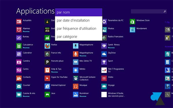 Windows 8.1 liste applications tous les programmes
