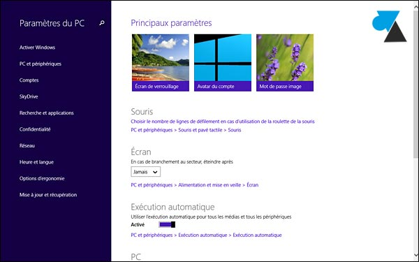 Windows 8.1 panneau de configuration
