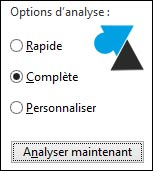Windows Defender analyse antivirus complete