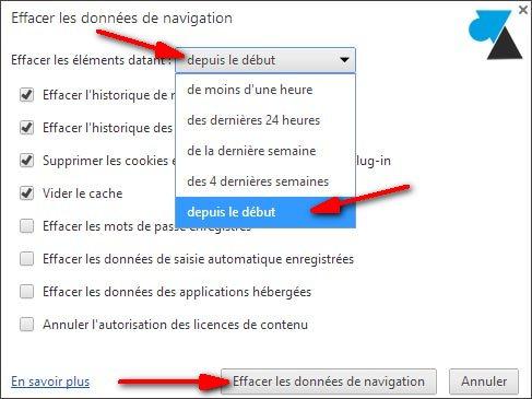 Google Chrome effacer historique vider cache internet