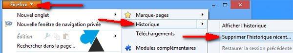 Mozilla Firefox vider cache internet