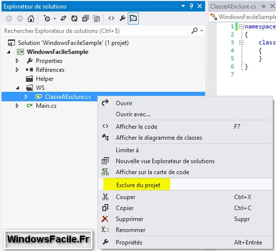 Visual Studio Exclure fichier