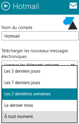 configurer Courrier synchronisation mail