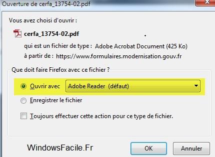 PDF ouvrir avec adobe Reader