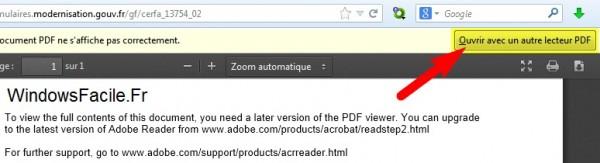 PDF Ouvrir avec autre lecteur PDF