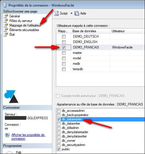 SQL Server mappage utilisateur BDD