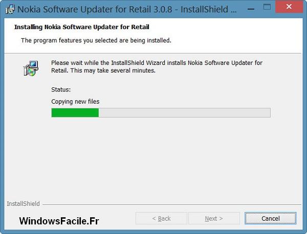 Installation copie des fichiers Nokia